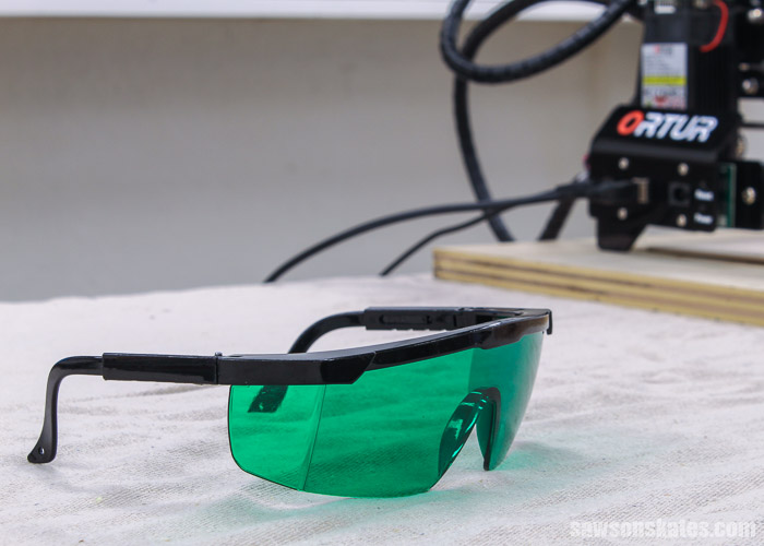 Safety glasses that come with the Ortur Laser Master 2