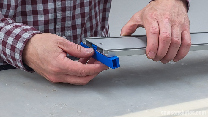 Sliding the clamp into a Kreg Straight Edge Guide