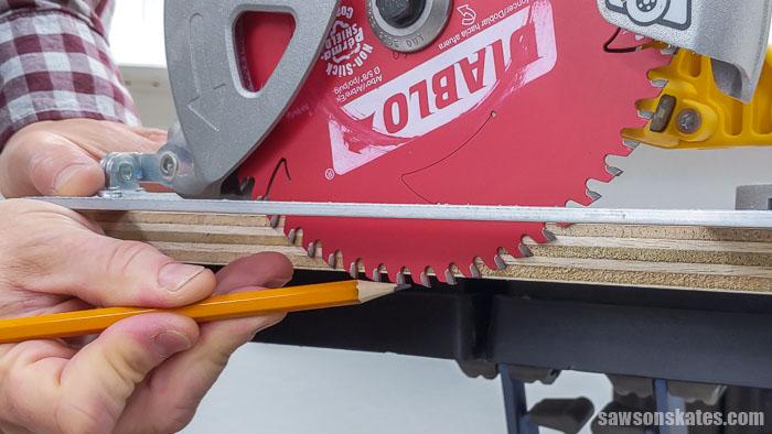 Setting a circular saw blade to make a cut with a Kreg Straight Edge Guide