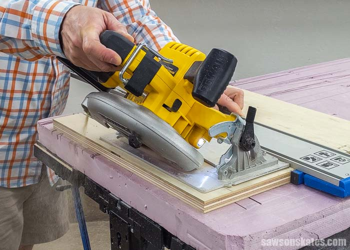 Showing how to cut a french cleat with a circular saw