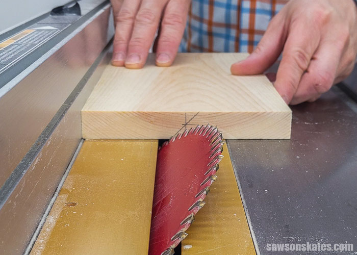 Position a test piece for a french cleat on the table saw blade