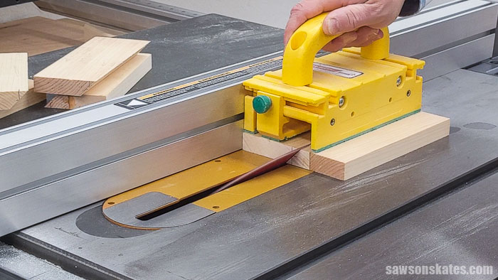 Making a test piece for a french cleat using a table saw