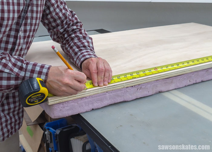 Marking a workpiece to make a cut with a Kreg Straight Edge Guide