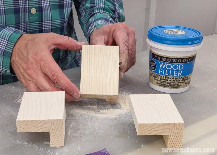 Showing a piece of wood after using FamoWood Stainable Wood Filler