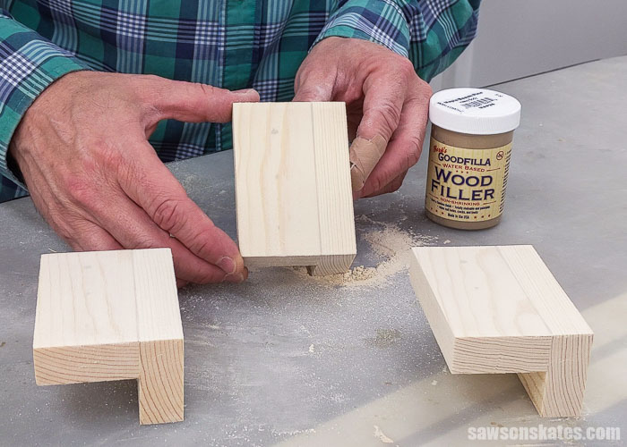 Showing a piece of wood after using Goodfilla Stainable Wood Filler