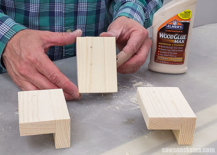 Showing a piece of wood after using mixture of glue and sanding dust