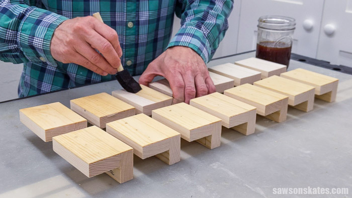 Applying wood conditioner to stainable wood filler