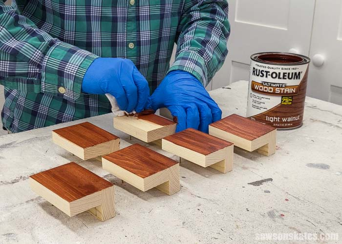 Staining wood filler with light walnut stain