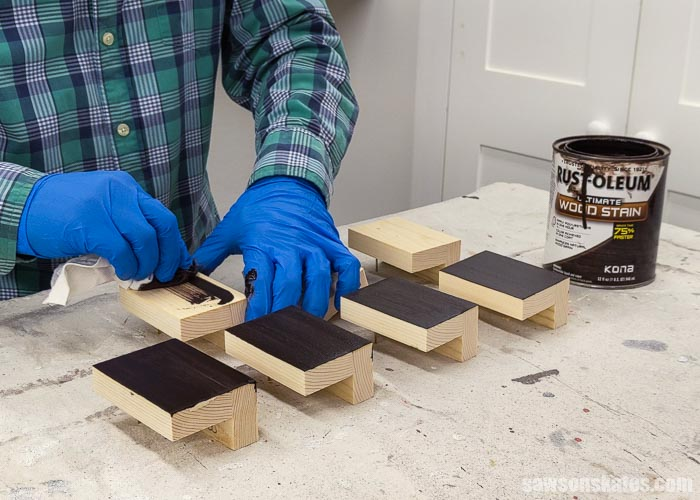 Staining wood filler with a dark stain
