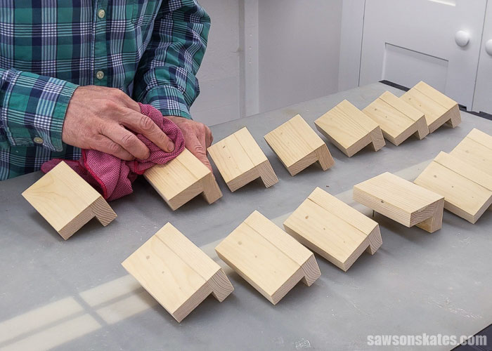 Removing dust after sanding stainable wood fillers