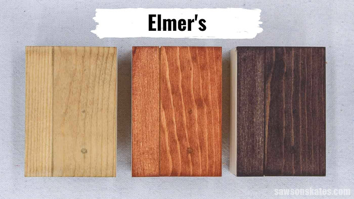Three pieces of wood with Elmer's Stainable Wood Filler stained with coffee, light stain, and dark stain