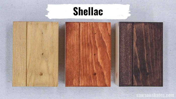 Three pieces of wood with a shellac and sanding dust mixture stained with coffee, light stain, and dark stain