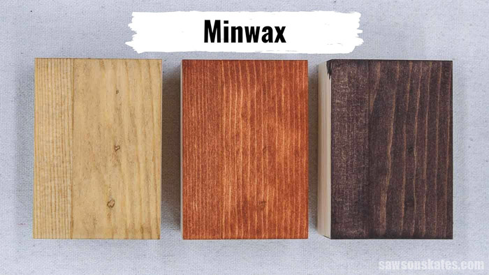 Three pieces of wood with Minwax Stainable Wood filler stained with coffee, light stain, and dark stain