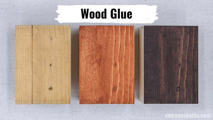 Three pieces of wood with a glue and sanding dust mixture stained with coffee, light stain, and dark stain