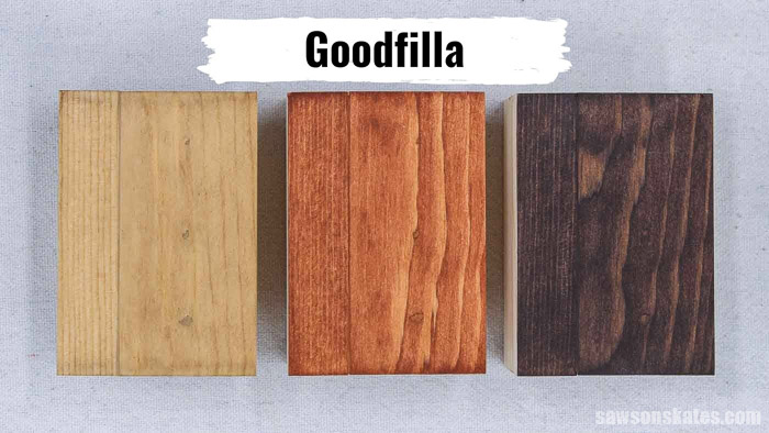 Three pieces of wood with Goodfilla Stainable Wood Filler stained with coffee, light stain, and dark stain