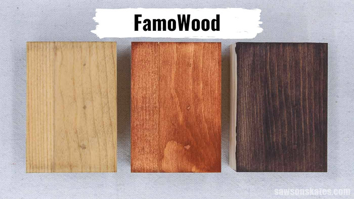 Three pieces of wood with FamoWood Stainable Wood Filler stained with coffee, light stain, and dark stain