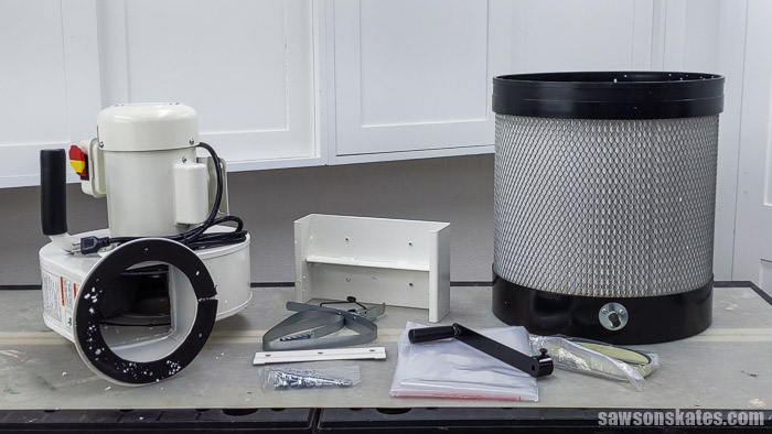 Parts inventory for a wall-mount dust collector
