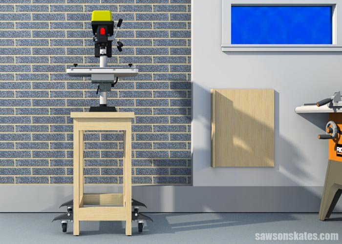 Sketch showing the front view of a DIY drill press stand