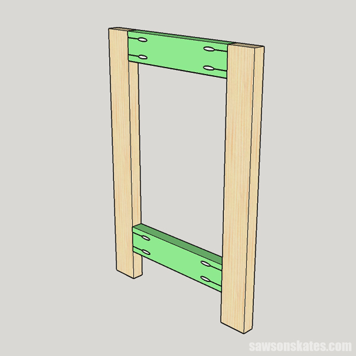Sketch showing the leg assembly for a DIY drill press stand