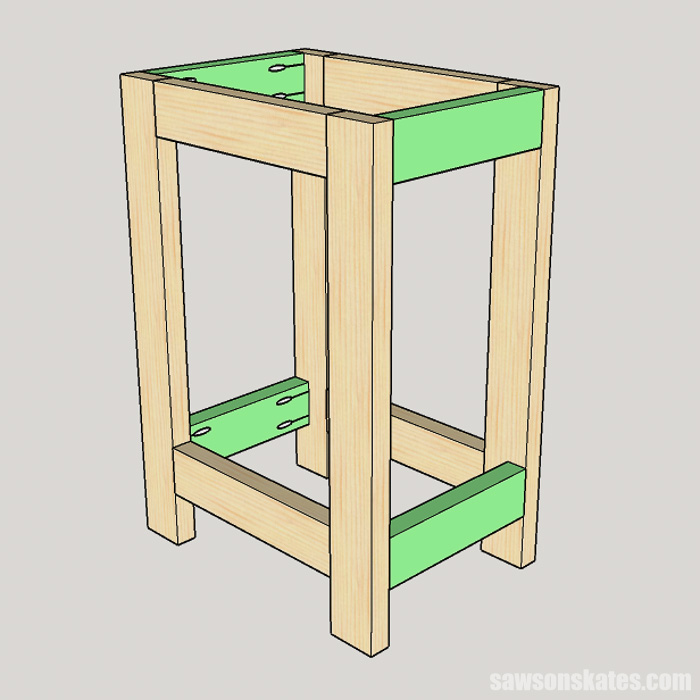 Sketch for a DIY drill press stand showing the leg assemblies joined with the side rails