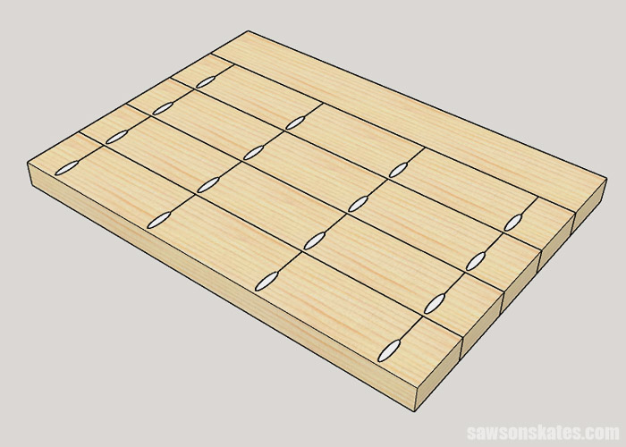 Sketch showing how to join the top of a DIY drill press stand with pocket holes