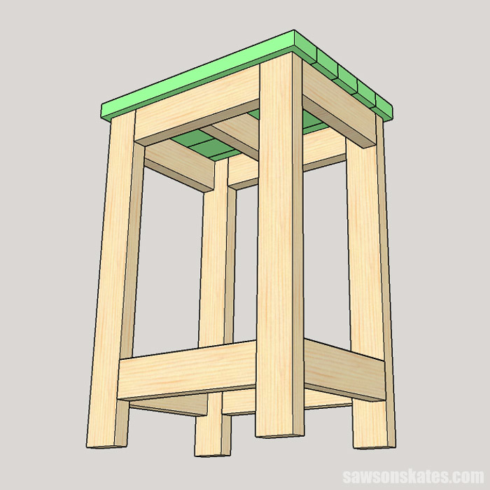 Sketch showing how to attach the top of a DIY drill press stand