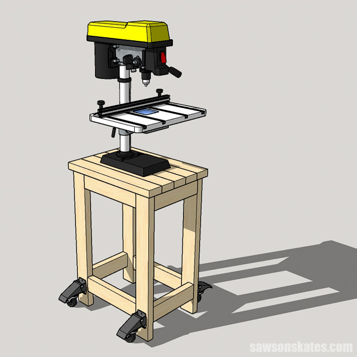 Sketch showing a benchtop drill press attached to a DIY drill press stand
