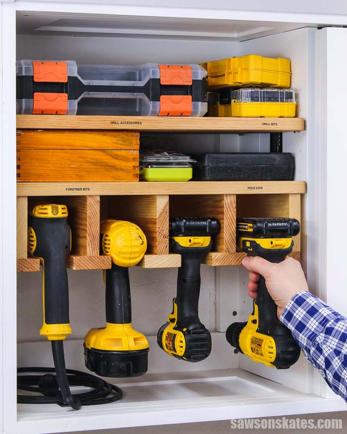 Get your tools organized with this DIY drill holder. This cordless drill storage rack is easy to make with a few pieces of wood and these simple plans.