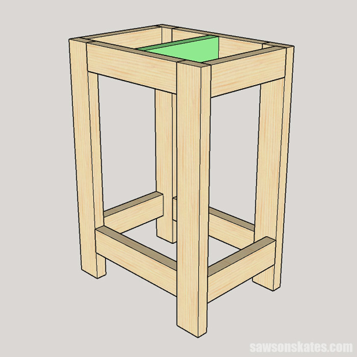 Sketch showing how to attach the stretcher to a DIY drill press stand
