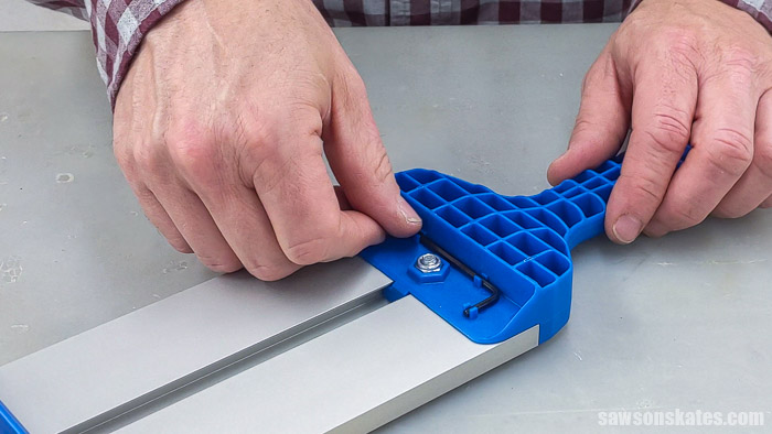 Storing an Allen wrench in the handle of a Kreg Straight Edge Guide
